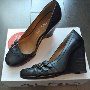 Aldo Black leather wedge heels